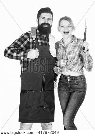 American Food Tradition. Backyard Barbecue Party. Cooking Together. Couple In Love Getting Ready For