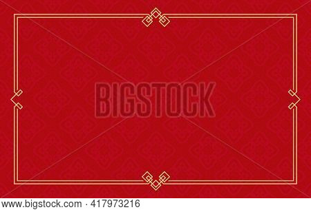 Red Backgroud And Gold Frame, Certificate Of Template Chinese Pattern Background With Frame,   Patte