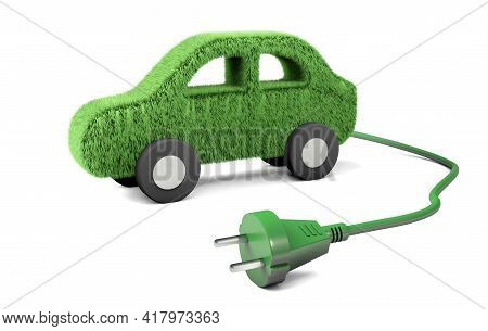 Electric Car. A Grass Car With A Wire And A Plug From The Socket. Solar Energy. Isolated On White Ba