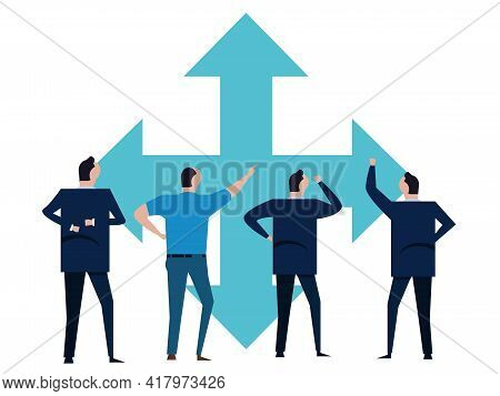 Business People Standing Brainstorming Company Direction Choosing Path Making Decision