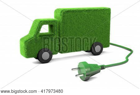 Electric Truck. Grass Truck With A Wire And A Plug From The Socket. Isolated On White Background. 3d