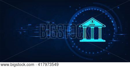 Internet Banking Technology.isometric Illustration Of Bank On Dark Blue Technology Background.digita