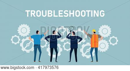 Troubleshooting Find And Fix Problem Error In A Machine Process Symbol Of Cooperation Working Togeth