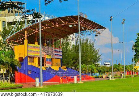 Labuan,malaysia-apr 23,2021:view Of Football Field With A Mini Grandstand And Labuan Square,also Kno