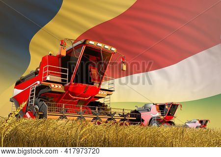 Industrial 3d Illustration Of Agricultural Combine Harvester Working On Rural Field With Seychelles