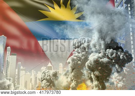 Big Smoke Column With Fire In The Modern City - Concept Of Industrial Catastrophe Or Terroristic Act