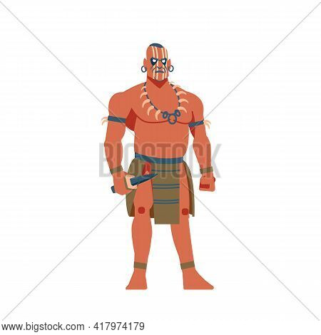 Warrior Of South America, Mayan, Aztec Or Inca. A Strong Aboriginal Warrior With A Knife Cartoon, Fl