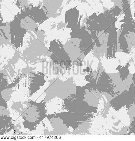 Winter White Camouflage, Modern Fashion Design. Army Uniform. Camo Military Grunge Dry Brush Pattern