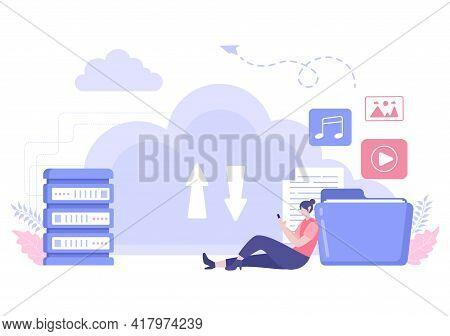 Cloud Backup Storage Illustration Of Computer System For Information Sharing, Hosting, Saving, Copyi