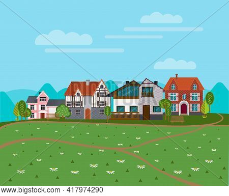 Summer Rural Landscape Background With Cottages Suburban Houses Green Trees And Chamomile Flowers Ve