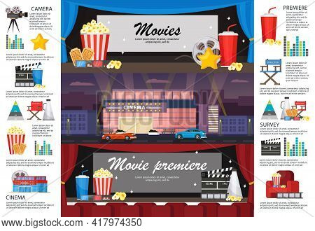 Cinematography Infographic Horizontal Banners With Movie Premiere Cinema Building Camera Filmstrip S