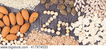 Nutritious Eating Containing Zinc. Healthy Nutrition As Source Natural Vitamins, Minerals And Dietar