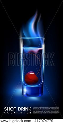 Fiery Hot Shot Cocktail Glass Concept With Cherry In Realistic Style On Dark Background Isolated Vec