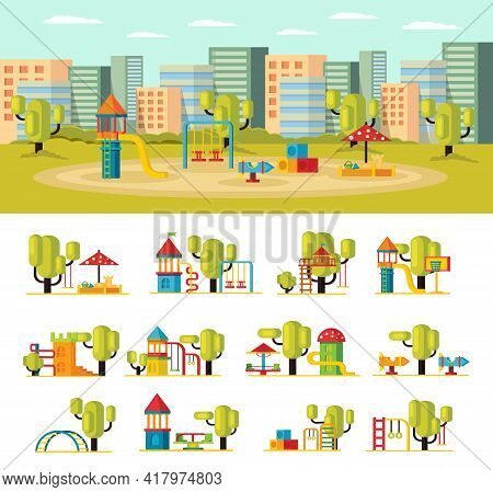 Summer Playground Concept With Slides Swing Sandbox Carousels Green Trees And Equipment Isolated Vec