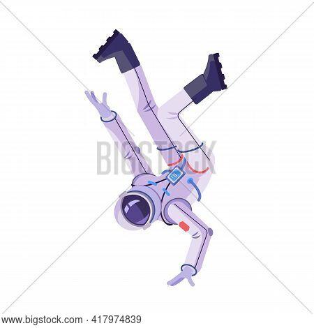 Astronaut Dancing Break Dance. Cosmonaut Performing Modern Dance. Cartoon Vector Illustration Isolat