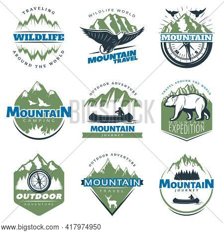 Outdoor Adventures And Tourism Colorful Logos With Mountains Peaks And Rocks Isolated Vector Illustr