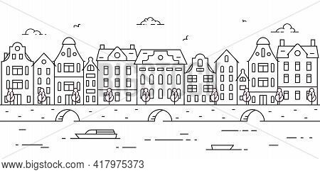 Outline Panorama Of European City With Historical Buildings. Europe, Holland, River, Sea Channel, Ca
