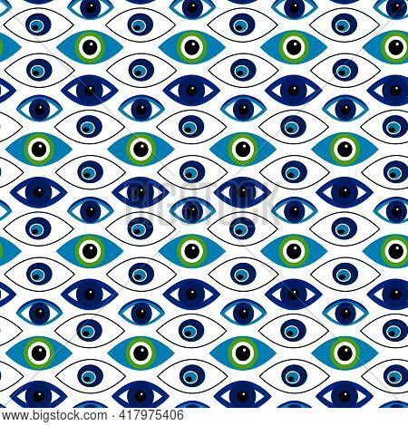 Pattern With Abstract Symbols Of The Eyes. Vector Illustration Isolated On White Background. Symbols
