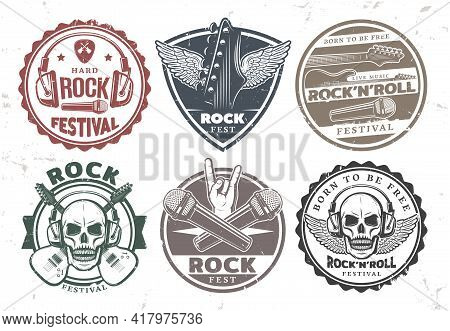Retro Rock Music Stamps Set With Inscriptions Headphones Microphones Electric Guitars Skull Wings Me