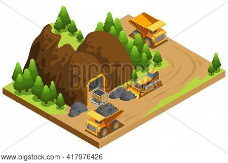 Isometric Coal Extraction Industry Template With Dump Trucks Transporting Resources And Bulldozer Wo