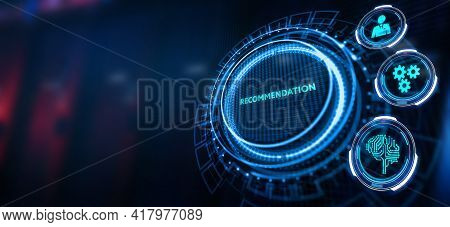 Business, Technology, Internet And Network Concept. The Word Recommendation On The Virtual Screen. 3
