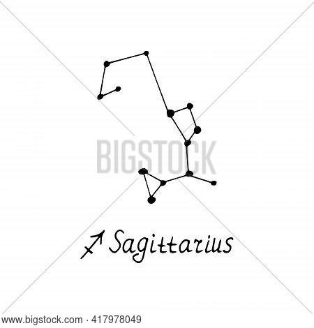 Constellation Sagittarius Icon And Lettering. Hand Drawn Doodle Style. Vector, Minimalism, Monochrom