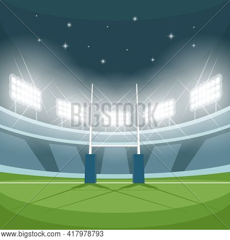Rugby Stadium With Lights At Night. Night Light, Game And Goal, Floodlight Bright, Spotlight And Gro