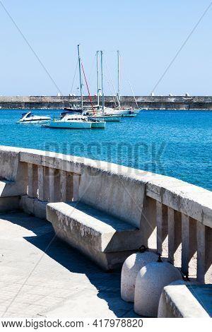 Small Port Of Santa Maria Di Leuca, Southern Italy. Apulia (italian Region). Balcony With Sea View A