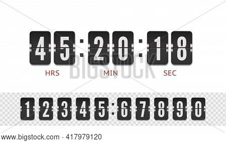 Scoreboard Number Font. Vector Coming Soon Web Page Design Template With Flip Time Counter. Vector I