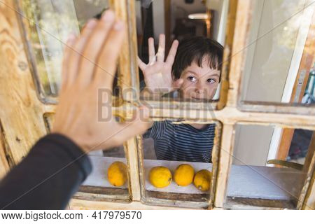 A Curious Boy Looks Out The Window, Portrait Of A Boy, Observation Through The Window, The Emotions