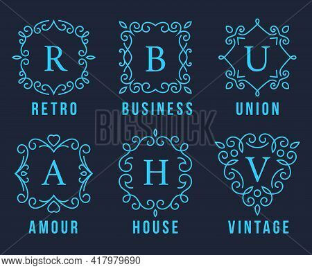 Light Blue Monogram Logos Set Graphic Design On Dark Gray Background. Emphasizing Retro  Business  U