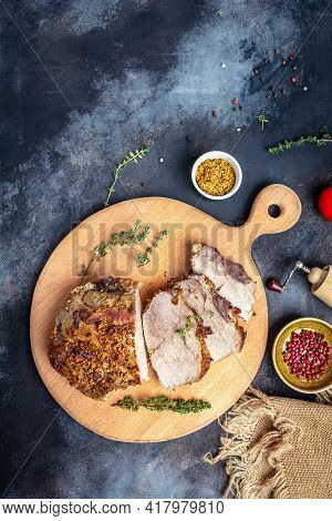Roasted Pork Loin. Large Piece Of Baked Pork With Mustard On A Cutting Board. Banner, Menu Recipe Ve