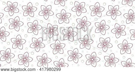 Pink Outline Flowers On A White Background With Small Pale Grey Circles. Vector Seamless Pattern For