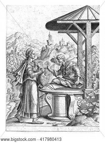 Christ sits on the edge of a well. The Samaritan woman offers him a drink from her water jug. In the background you can see a mountainous landscape with castles and fortresses.