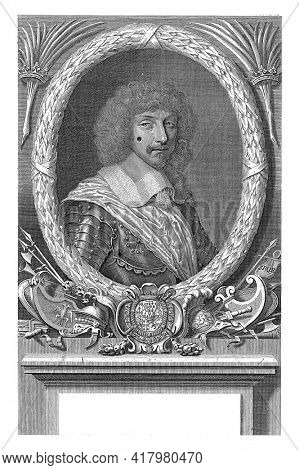 Portrait of the Marshal Jean Baptiste Budes, Count of Guebriant, in armor with a sash. An oval laurel wreath as a frame.
