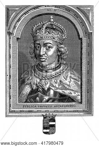 Bust portrait of Lothair II, with crown. He wears a cloak and a necklace with a cross pendant.