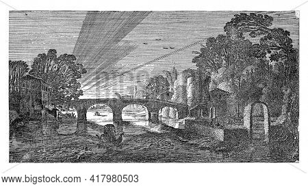 River view at sunset. In the middle a stone bridge. On the left two swimming figures and on the right conversing figures in a garden.