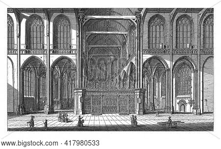 Interior of the Nieuwe Kerk in Amsterdam, looking east towards the choir. Below the show the title in Dutch and French.