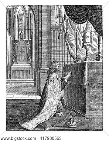 Emperor Maximilian I kneels before the Blessed Sacrament on the altar and becomes healthy again.