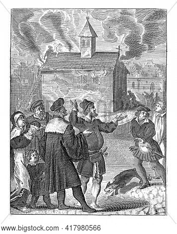 The church where the host is kept burns down, but the host is spared. In the foreground wailing spectators.