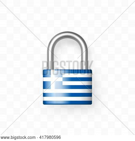 Secure Enclosed Padlock With The Flag Of Greece. Isolated On Checkered Background. Lock Icon. Data P