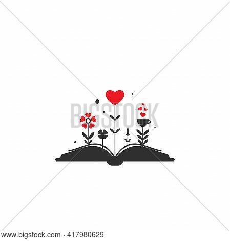 Open Book With Grass And Sprouts And Hearts. Isolated On White Background. Bibliophile Flat Icon. Ve