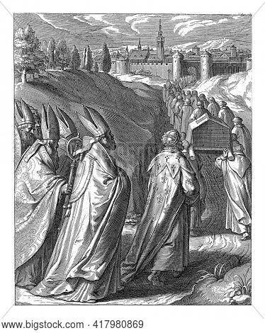Landscape with four monks carrying the chest of Thomas Aquinas, led by several monks. Several bishops and a king follow behind them.