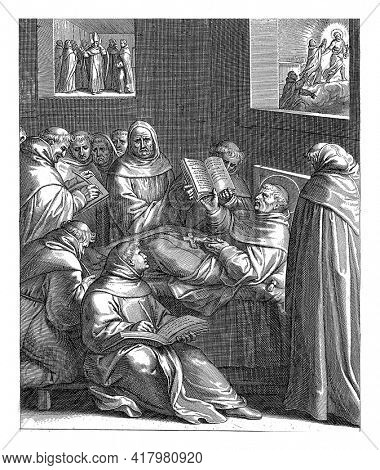 Thomas Aquinas is on his deathbed reading a book, holding a crucifix in his hands. He is surrounded by monks.