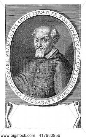 Bust of Fortunato Scacchi to the left in oval with Latin edge lettering. At the bottom of the margin a four-line text in Latin.