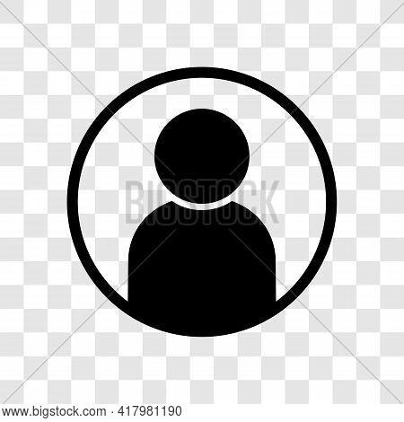 User Avatar Profile Icon. Black Vector Illustration On Transparent Background. Website Or App Member