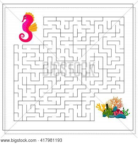 A Maze Game For Kids. Guide The Cartoon Sea Conic Through The Maze To The Corals. Vector Isolated On