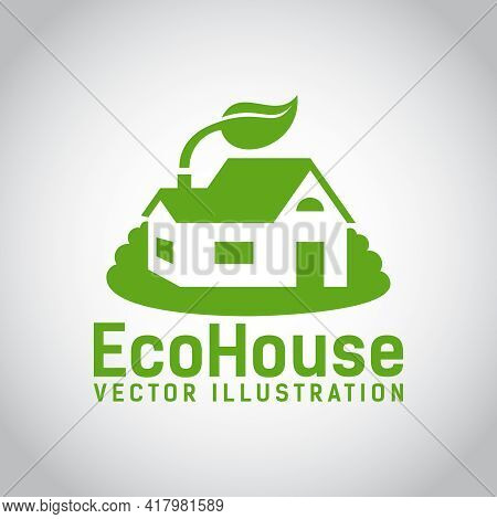 Green Illustration Of An Eco House Or Eco Home  Surrounded By Grass And With A Leaf Above The Roof