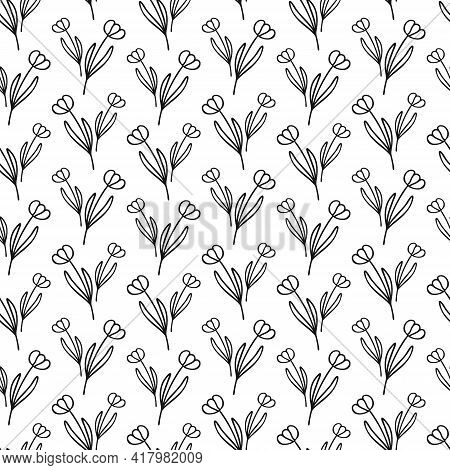 Simple Combinable Seamless Patterns. Tulip Flower Botanical Floral Hand Drawn Lineart Elements Dots