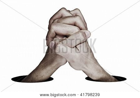 man hands together symbolizing cooperation or union on a white background